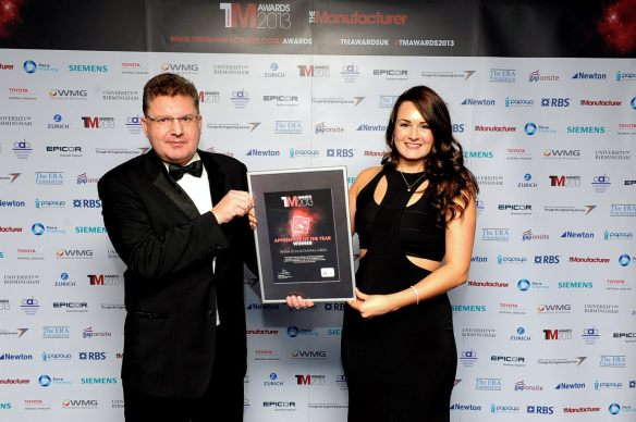 Anna Schlautmann receives her award from Pera Training Chief Executive Richard Grice Copyright Manufacturer 2013